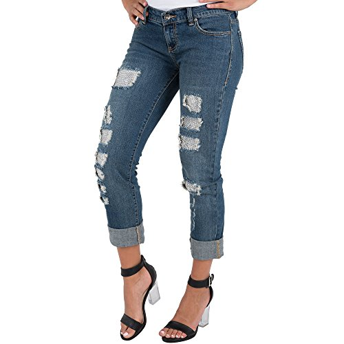 Distressed Straight Leg Jeans (Standards & Practices S&P Women's Stretch Denim Destroyed Mended Straight Leg Cuffed Jeans Silver Patch Backed)
