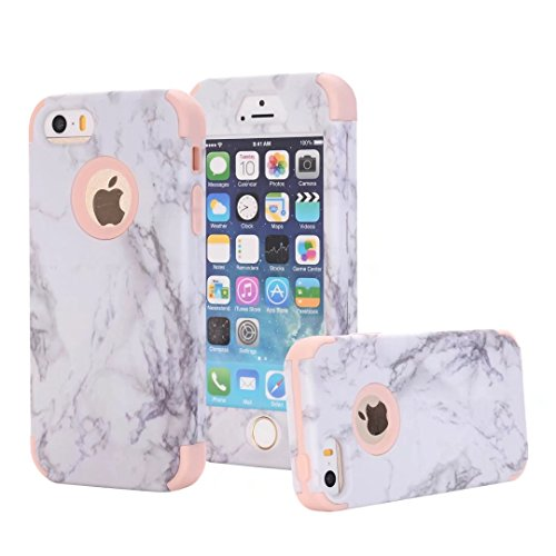 Double Marble - iPhone 5S Case, iPhone 5 Case, iPhone SE Case, AOKER [Marble Design] Slim Dual Layer Anti-Scratch & Fingerprint Slim PC + Silicone Dustproof Protective Case Cover for Apple iPhone 5 5S SE (Rosegold)