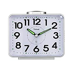 Tinload 4 Loud Bell Alarm Clock Silent No Ticking,Backlight,Battery Operated,Easy Set(Black)