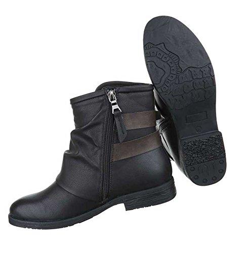 Damen Stiefeletten Schuhe Biker Stiefel Used Optik Schwarz Schwarz Schwarz 1d74cd