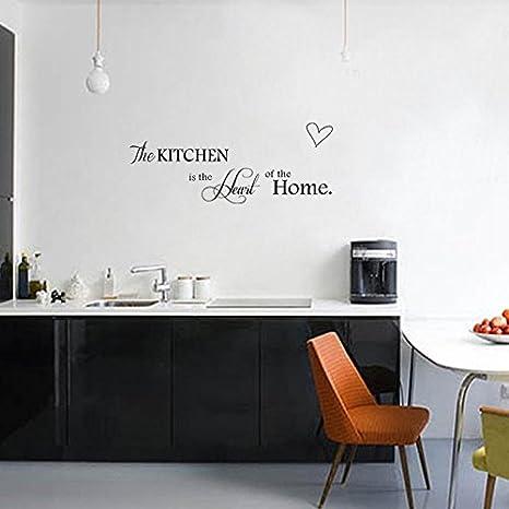 Wandaufkleber Wandbilder f/ür K/üche und Esszimmer ufengke/® The Kitchen is the Heart of the Home Wandtattoo Spruch Zitat