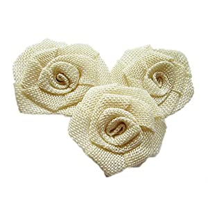 YYCRAFT 12pcs Burlap Roses Fabric Flowers for Headbands Hair Accessory DIY Crafts/Wedding Party Decoration/Scrapbooking Embellishments 77
