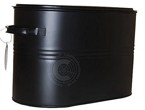 Negro para carbón para cubo para Store con tapa metálica ...