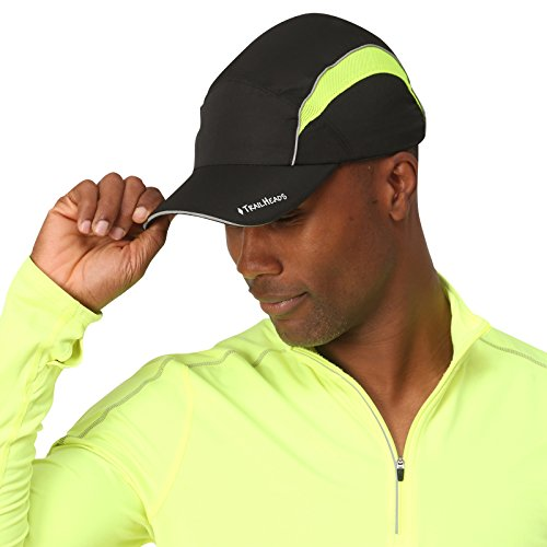 TrailHeads Reflective Running Cap with Sun Protection | Hi Vis Hat | The Daybreak - black/hi-vis