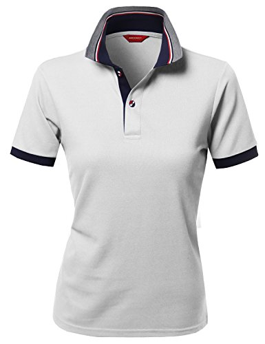 Solid Basic Short Sleeve Pique Knit Polo T-Shirt Tee White XL