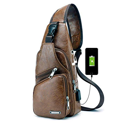 PHABULS Men's Side Sling canvas Backpack Casual Daypack for Men with USB Charging Port for Cycling Hiking Travel