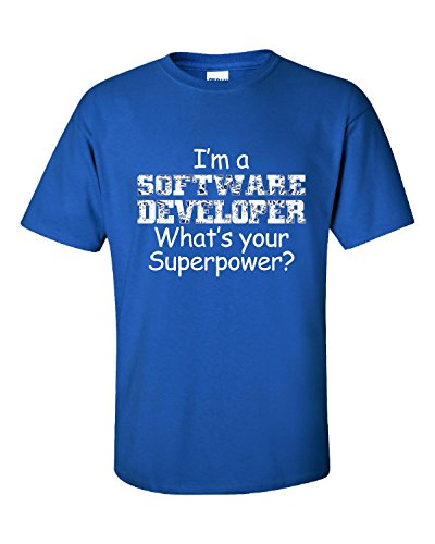 I Am A Software Developer Whats Your Superpower - Adult Shirt 3XL Royal by KewlCover (Image #1)