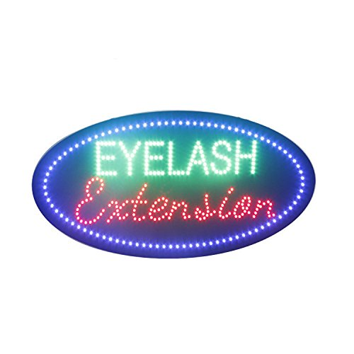 LED Eyelash Extension Open Light Sign Super Bright Electric Advertising Display Board for Eyebrow Treading Microblading Waxing Business Shop Store Window Bedroom Decor (19 x 10 inches) ()