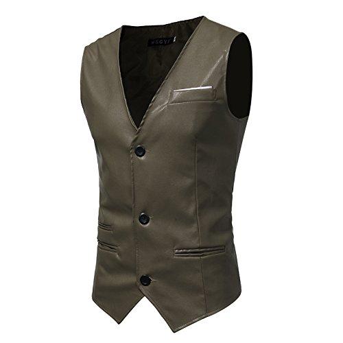 Männer - Slim - Anzug, Weste, Mann ist Einfachheit, self - anbau, pu Haut, Herr Weste,Army Grün,m