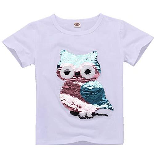 Flip Sequin Owl Shirt Girls Kids Toddler Short Sleeve Summer T-Shirt Tops Clothing -