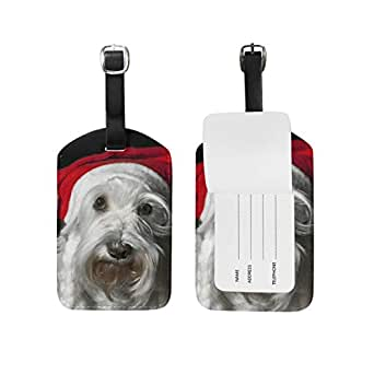 Mydaily Christmas Schnauzer Dog Luggage Tag PU Leather Bag Suitcases Baggage Label 1 Piece