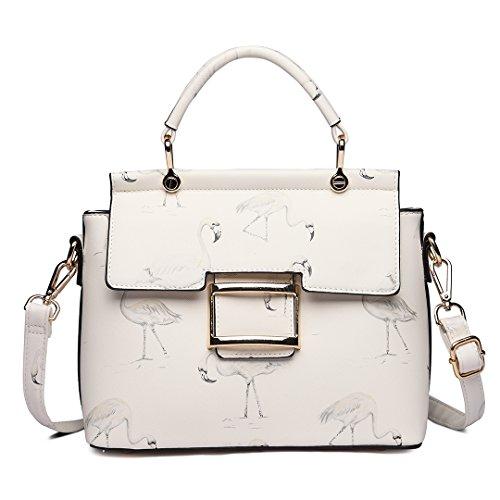 Miss Lulu bolso para mujer bolso de mano bolso de hombro de cuero de PU el diseño de Flamingo bolso nuevo de moda (1814 Blanco) 1814 Blanco