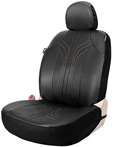 Leader Accessories RC Vinyl Single Black Leather Low Back Front Seat Cover for Car Truck SUV Airbag ()