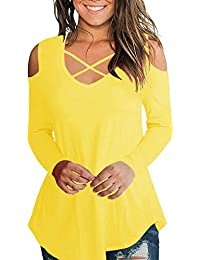 1e95107f0abcc Cold Shoulder Short Long Sleeve T Shirts V Neck Tops Casual Criss Cross  Tunic Blouse