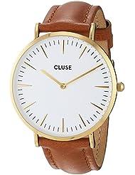 Cluse Womens La Boheme 38mm Brown Leather Band Metal Case Quartz White Dial Analog Watch CL18409