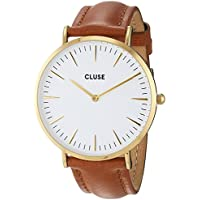 CLUSE La Bohème Gold White Caramel CL18409 Women's Watch 38mm Leather Band Minimalistic Design Casual Dress Japanese Quartz Elegant Timepiece