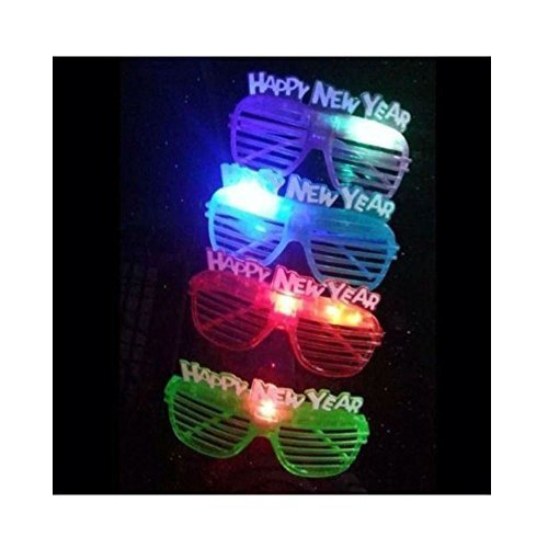 12 Light Up Happy New Years Eve SLOTTED SHUTTER Party Glasses Glowing LED Shades Glasses Hot Seller - Glowing Shades Shutter