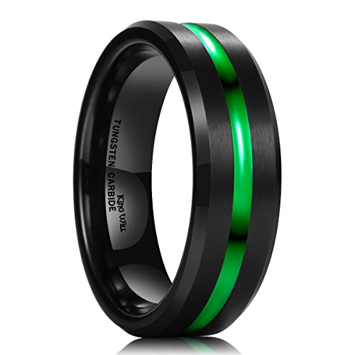 7mm Black Tungsten Band Rings - King Will Mens 7mm Black Matte Brushed Grooved Green Thin Line Tungsten Carbide Ring Beveled Edge Wedding Band 8