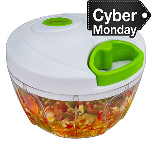 Brieftons Manual Food Chopper, Compact & Powerful Hand Held Vegetable Chopper / Blender to Chop Fruits / Vegetables / Nuts / Herbs / Onions / Garlics for Salsa / Salad / Pesto / Coleslaw / Puree