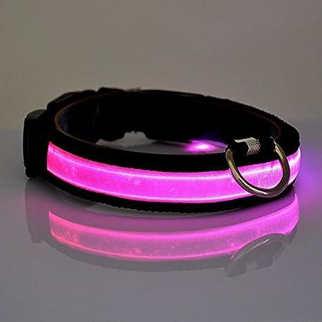 Vi.yo LED Collar de Perro Collar Reflectante con luz LED Collar Para Mascota con luz de Noche Para Perros Pequeños Medianos Grandes