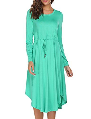 Crew Side Maxi Women Solid Sleeve 3 Dress Casual Party Evening Green Neck Tinkwell Split Long txP0xa