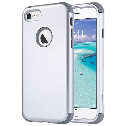 Armor Silicone Hybrid Shockproof back Cover Case PC Bumper For iPhone 7 (Silver) - 7