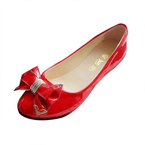 morecome Spring Toe Flat Heel Bow Tie Shoes Women's Flat Shoes (7, Red)