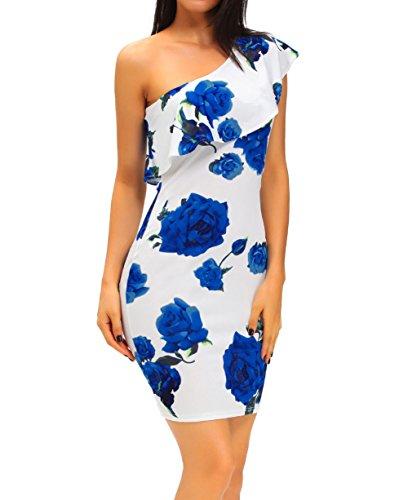 Shawhuwa Womens Sexy Floral Ruffle One Shoulder Bodycon Midi Dress M Blue-White
