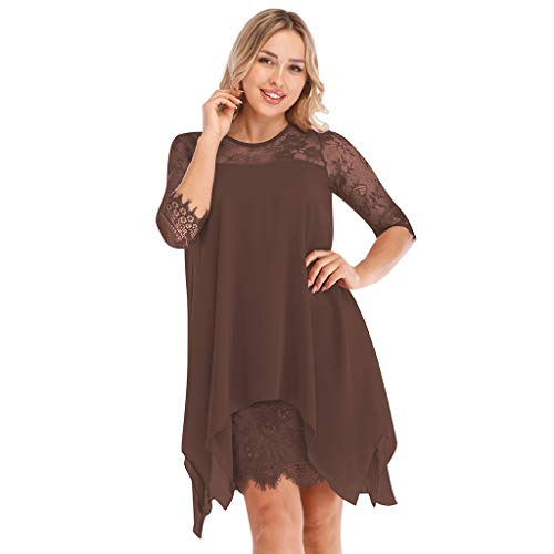 Eoeth Women Fringe Dress Chiffon Overlay Three Quarter Sleeve Lace Dress Solid Sheer Gown Oversize S-5XL Khaki