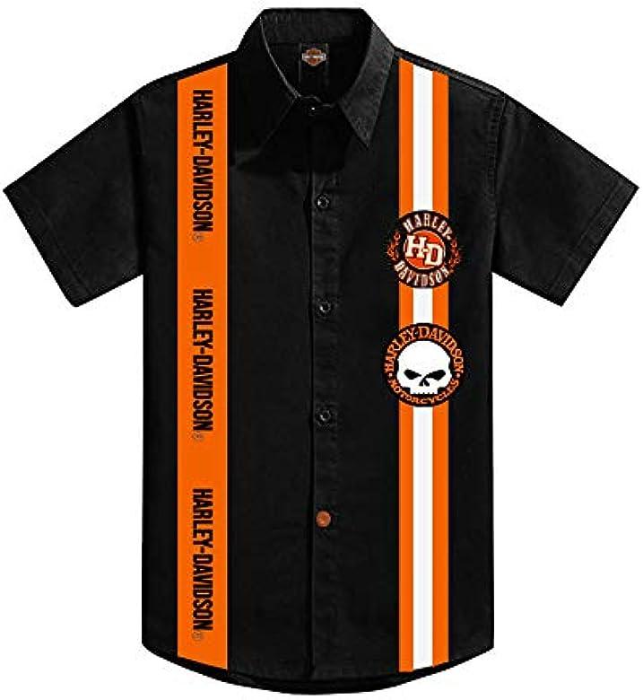 KICKKICK® Camisa Harley Davidson oficial y original – Tallas de 4 a 12 años – Manga corta – Camisa negra con inserciones y parche: Amazon.es: Ropa y accesorios