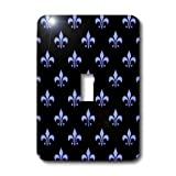 3dRose Lsp_21616_1 Blue Fleur De Lis On A Black Background Christian Symbol Single Toggle Switch