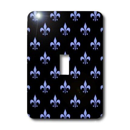 3dRose Lsp_21616_1 Blue Fleur De Lis On A Black Background Christian Symbol Single Toggle Switch