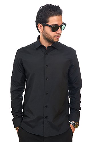 AZAR MAN New Men's Slim Fit Men's Solid Color Dress Shirts Spread Collar (Medium 15, Black)