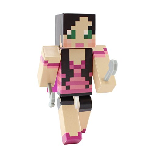 [Pink Top Green Eyed Girl Action Figure Toy, 4 Inch Custom Series Figurines by EnderToys] (Skeleton Minecraft Costume)
