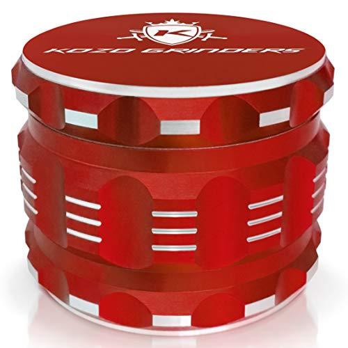 Kozo Best Herb Grinder [Upgraded Version]. Large 4 Piece, 2.5 Red Aluminium