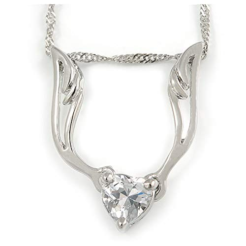 Avalaya Delicate Clear CZ Heart Stone with Wings Pendant with Silver Tone Chain 42cm L// 5cm Ext