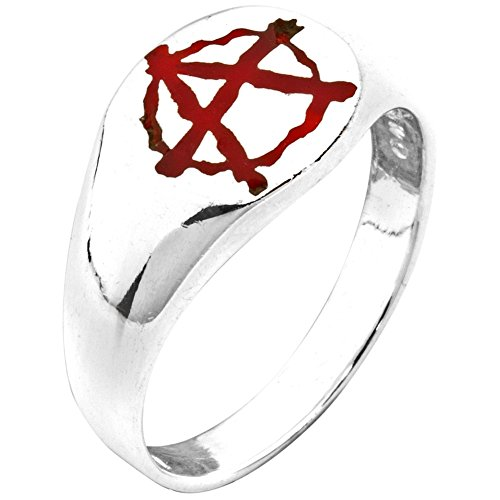 Anarchy - Silver Ring - Cross Sterling Silver Biker Ring