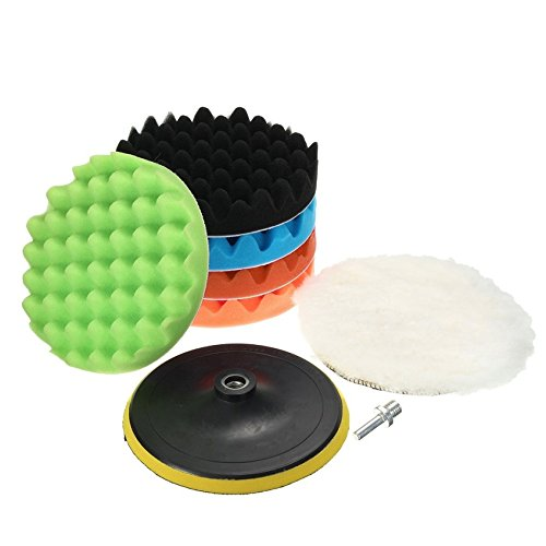 (8Pcs 7inches Car Polishing Waxing Set Sponge Buffing Pad Accessory Automobile Polisher Buffer Kit Compound with M14 Drill Adapter Kit)