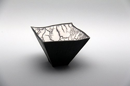 Naked Raku Square bowl with Crackle #23