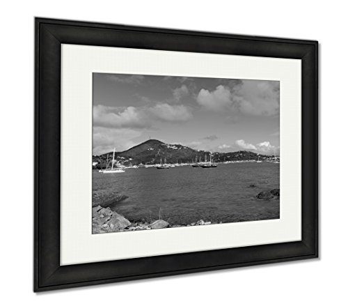 Ashley Framed Prints Havensight Shopping Mall Saint Thomas, Modern Room Accent Piece, Black/White, 34x40 (frame size), Black Frame, - Mall Ocean City Shopping