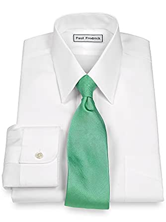 Paul Fredrick Men's Non-Iron 2-Ply 100% Cotton Straight Collar Dress Shirt White 14.5/32
