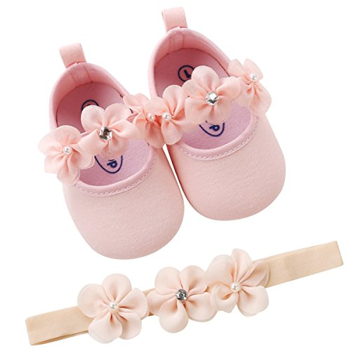 LIVEBOX Baby Infant Girls Shoes, Soft Sole Prewalker Mary Jane Princess Dress Crib Shoes with Free Baby Headband for Attend Wedding Birthday Party Events (Princess-Pink, L) ()