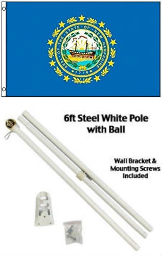 ALBATROS 3 ft x 5 ft State of New Hampshire Flag White with Pole Kit Gold Ball Top for Home and Parades, Official Party, All Weather Indoors Outdoors