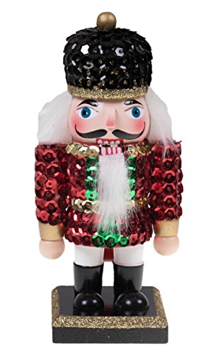 [Christmas Wooden Soldier Nutcracker with Sequin Jacket and Hat - 6