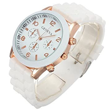 Reloj De Pulsera Moda Mujer Hombre Deporte Cuarzo Silicona Gel Goma Unisex Watch: Amazon.es: Hogar