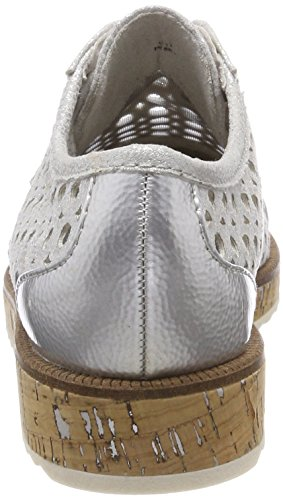 Cordones Mujer 23502 Tozzi Marco para Oxford com Zapatos de Silver Plateado Met pIqAnxA0