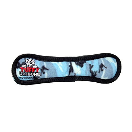 TUFFY Ultimate Bone, Durable Dog Toy (Blue Camo)