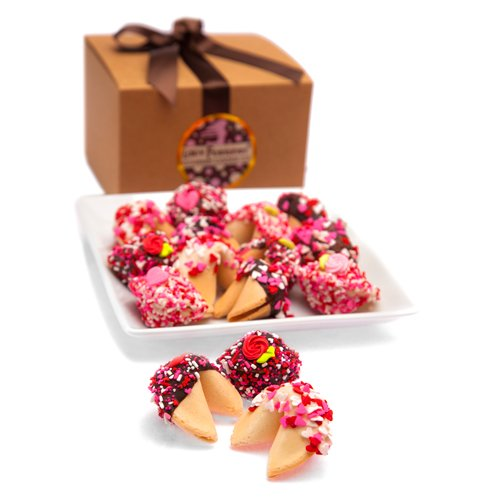 Valentine Hand Dipped and Decorated Fortune Cookies Gift Box by Chocolate Dipped Fortune Cookies