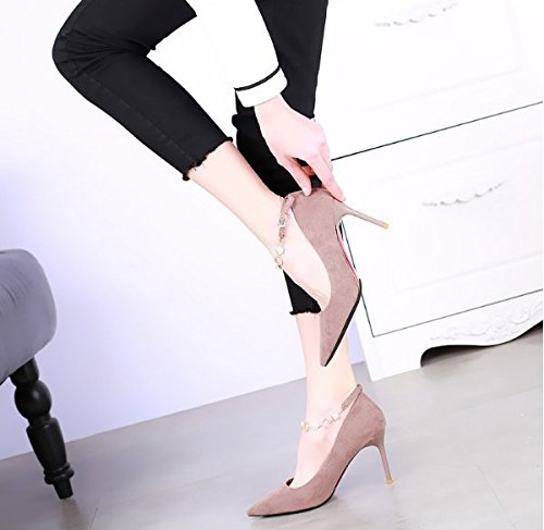 Match Heeled With Shoes 5Cm Sexy A 35 A Khaki Pointed 8 Shoes Spring Leisure Fine Shallow Elegant Mouth MDRW Work High Shoes All Lady Buckle cPwq11zF