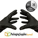 Medical Grade Nitrile Powder Free Exam Glove, 5 mil, Medium, Black (9000 Count) by PSBM